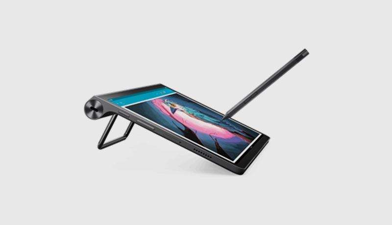 The Yoga Tab 11 in tilt mode with supported pen - techxmedia
